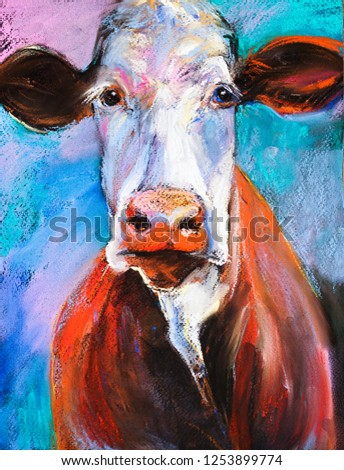 Original Pastel Painting Cow Portrait Modern Art
