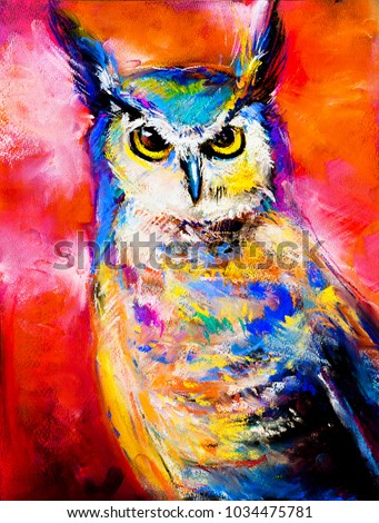 Original Pastel Painting Of An Owl Modern Art