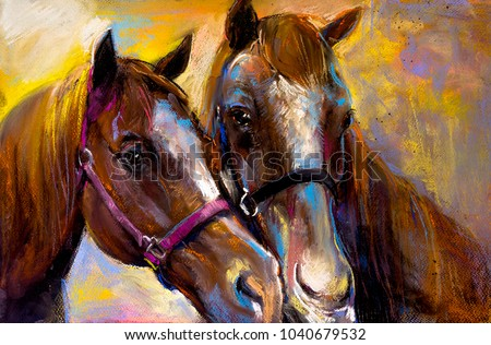 Original pastel painting on a cardboard of a horses. Modern Art.