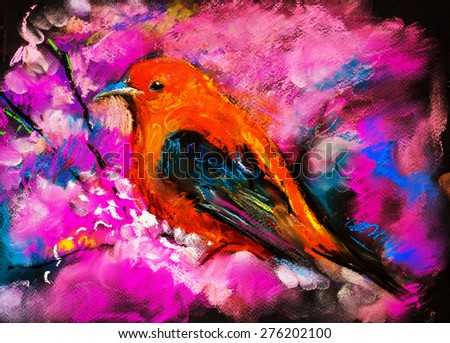 Original pastel painting on cardboard. Modern painting of a Red bird