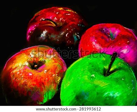 Original pastel painting on cardboard.Modern painting of apples