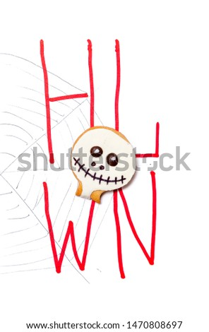 Original poster for Halloween. A round mask in the form of a mask lies on a close-up drawn web. Drawn red consonants H L W N #1470808697