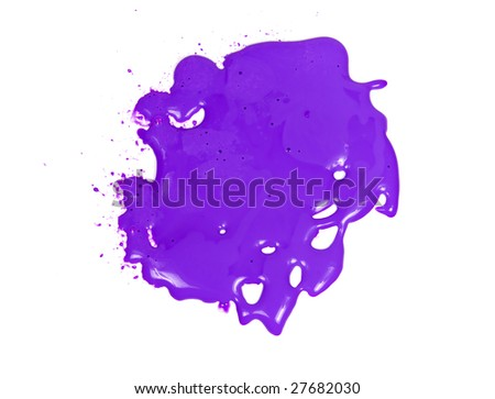 Original purple blot from glass deco paint on white background #27682030
