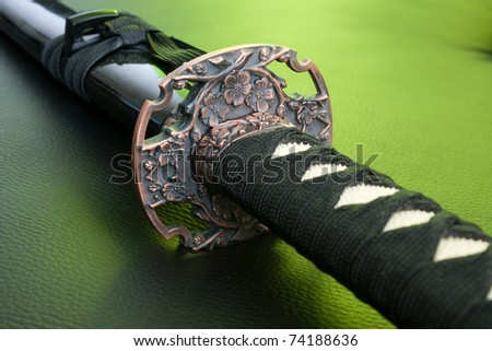 Original samurai katana grip close-up - japanese sword