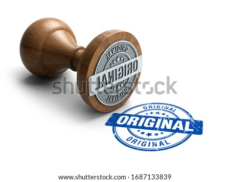 Original stamp. Wooden round stamper and stamp with text Original on white background. 3d illustration. rubber stamp.  Stock photo ©