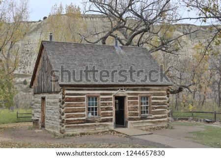 Original Theodore Roosevelt Cabin outside Theodore Roosevelt National park