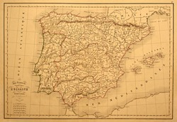 Original vintage map of Spain and Portugal printed in 1850.