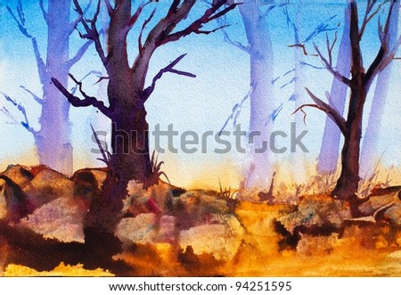 original watercolor art painting of trees in forest, autumn