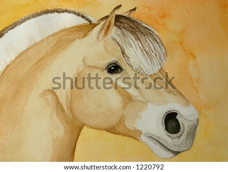 Original watercolor painting of a Norvegian fjord horse on an orange background.