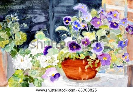 original watercolor painting of pansies still life