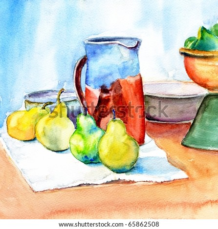 original watercolor painting of still life with pitcher and pears