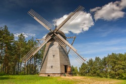 Original windmill from 19th century, dutch type The Folk Architecture Museum and Ethnographic Park in Olsztynek, Poland.