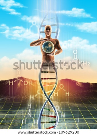 Origins of life: from simple molecules to dna. An human being materialize from dna and holds the Earth between its hands. Digital illustration.