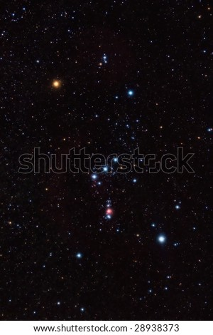 Orion constellation and nebula and star field