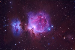 Orion Nebula M42 with Galaxy,Open Cluster,Globular Cluster, stars and space dust in the universe and Milky way taken by dedicated astrophotography camera on telescope.