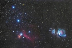 Orion's belt in the winter sky, stars Alnitak, Alnilam, Mintaka, Horsehead Nebula, Orion Nebula