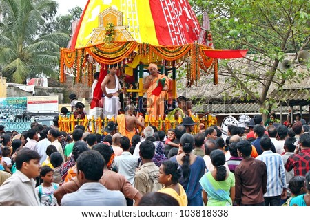 ORISSA, INDIA - AUGUST 03: Followers of lord Krishna celebrate Krishna's birthday near famous Iskcon temple on August 03, 2011 at Orissa, India.