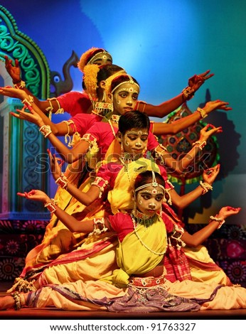 ORISSA, INDIA - NOVEMBER 17: A group of unidentified young folk dancers performs in Gotipua Dance festival on November 17, 2011 at Orissa, India