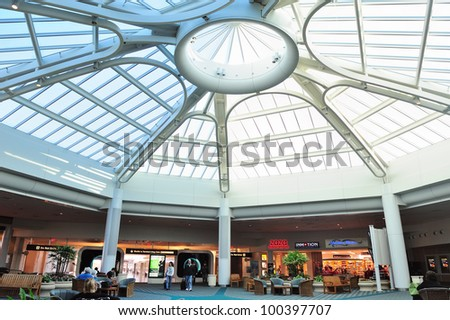 ORLANDO, FL - FEB 14: Orlando International Airport interior on February 14, 2012 in Orlando, Florida. It is the second busiest in Florida, the 13th in US and the 29th in the world. - stock photo