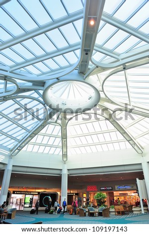 ORLANDO, FL - FEB 14: Orlando International Airport interior on February 14, 2012 in Orlando, Florida. It is the second busiest in Florida, the 13th in US and the 29th in the world.