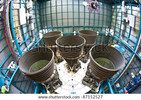 ORLANDO, FL - JULY 25: Engines of the Apollo rocket in detail at Apollo space center in the Kennedy space center complex on July 25, 2010 in Orlando, Florida. The center is open for public.