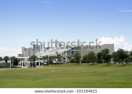 ORLANDO, FL - MAY 9: The Orange County Convention Center on International Drive on May 9, 2012 in Orlando, flanked by the Peabody Hotel. It is the second largest convention center in the U.S.