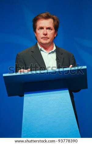 ORLANDO, FLORIDA - JANUARY 16: Actor Michael J. Fox delivers an address to IBM Lotusphere 2012 conference on January 16, 2012 in Orlando, Florida. He tells how social networks help him fight his Parkinson disease