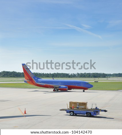 ORLANDO, FLORIDA - MAY 27: N551WN Southwest Airlines Boeing 737-76Q(WL) first flown Nov 11, 2001 is arriving at Orlando airport. Southwest is USA's number 1 low budget airline. Orlando May 27, 2011.
