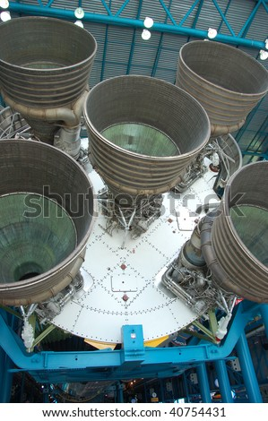 ORLANDO - OCTOBER 1: The Saturn V was a multistage liquid-fuel expendable rocket used by NASA's Apollo and Skylab programs from 1967 until 1973 on October 1, 2009 in Orlando, FL. - stock photo