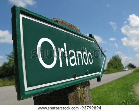 Orlando signpost along a rural road