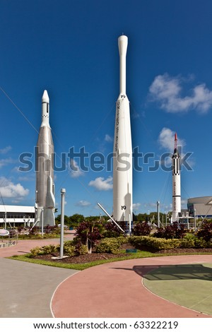 ORLANDO, USA - JULY 25: The Rocket Garden at Kennedy Space Center features 8 authentic rockets from past space explorations on July 25, 2010 in Orlando, USA.