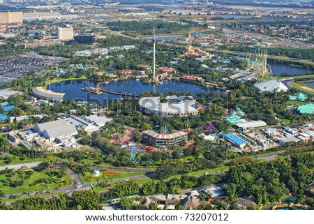 ORLANDO, USA - NOVEMBER 13: Aerial view of the adventure park Sea World Orlando - one of seventh-most visited amusement park in the United States on November 13, 2007 in Orlando, Florida, USA