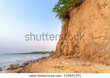 Orlowo cliff at Baltic sea in Poland