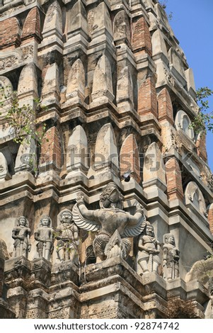 Ornament: ancient decoration of mystery animals on the pagoda at Wat Rajburana in Ayutthaya, Thailand