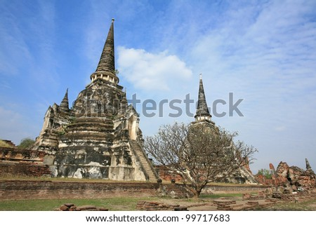 Ornament: architecture landscape of two ancient pagodas against blue sky at wat Phra Sri Sanphet, Ayutthaya, Thailand