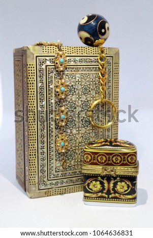 Ornament, bracelet and ornate box #1064636831