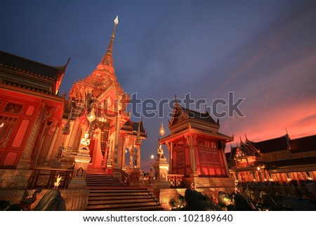 Ornament: crematorium at dusk for funeral ceremony of the HRH Princess Bejaratana Rajasuda of Thailand