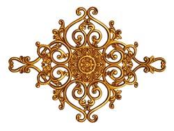 Ornament elements, vintage gold floral designs