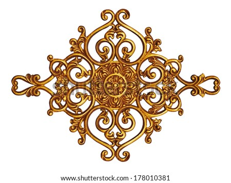 Ornament elements vintage gold floral designs