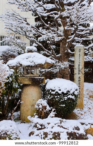Ornament of a Japanese Garden With Snow Covered