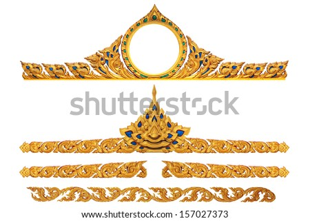 Ornament of gold plated vintage floral thai art Style