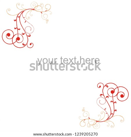 Ornament pattern. floral ornament. vintage ornament. ornament border. red  ornamental curls.
