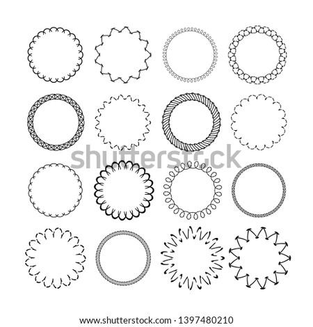 Ornament round borders. Vintage graphic decorative rounded circular frames. Black many circle frame isolated white background