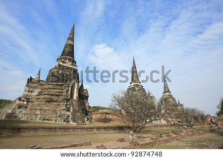Ornament: Three ancient pagodas against blue sky at wat Phra Sri Sanphet, Ayutthaya, Thailand