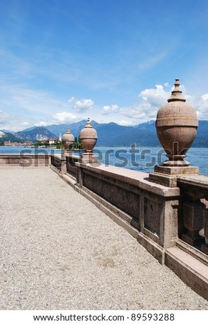 Ornamental balustrade on Borromean Island Isola Bella, Lake Maggiore panorama, Stresa, Piedmont, Italy