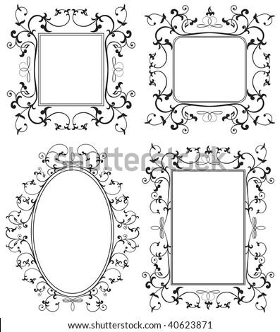 Ornamental black frames on white background, Illustration