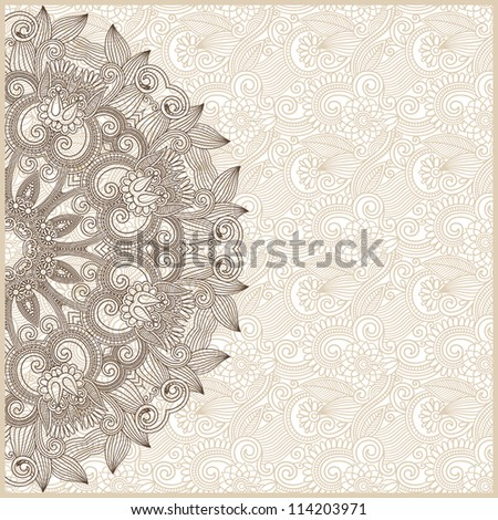 ornamental circle template with floral background. Raster version