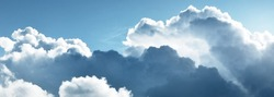 Ornamental clouds. Dramatic sky. Epic storm cloudscape. Soft sunlight. Panoramic image, texture, background, graphic resources, design, copy space. Meteorology, heaven, hope, peace concept
