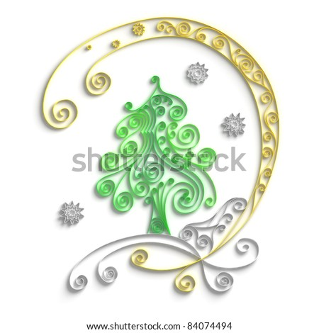 Ornamental design of christmas tree on white background, 3d quilling artwork