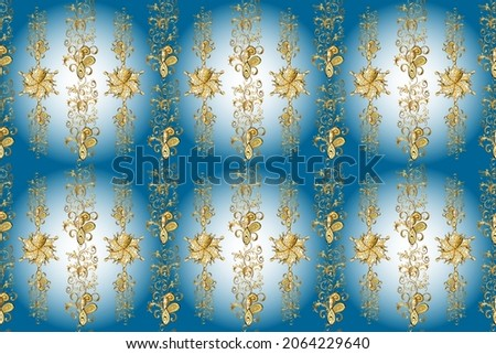 Ornamental floral elements with henna tattoo, golden stickers, mehndi and yoga design, cards and prints. Pattern on brown, neutral and blue colors. Raster golden mehndi seamless pattern.